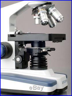 40X-2000X LED Lab Trinocular Compound Microscope w 3D Two-Layer Mechanical Stage