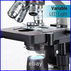 40X-2500X LED Binocular Compound Lab Microscope with Double Layer Mechanical Stage