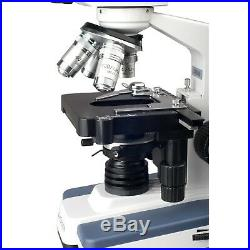 40X-2500X LED Compound Lab Microscope with 3D Stage Slides and Cleaning Kit