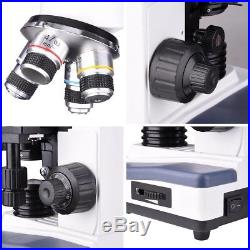 40X-2500X LED Lab Biological Compound Microscope with Two-Layer Mechanical Stage