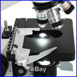6 magnification 40X-2500X LED Lab Compound Microscope Two-Layer Mechanical Stage