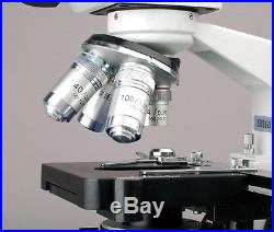 AmScope 2000X LED Lab Trinocular Compound Microscope + 3D Mechanical Stage + 5MP