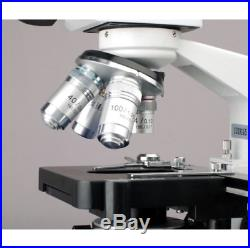 AmScope 40X-2500X Binocular Lab Compound Microscope with 3D Mechanical Stage LED