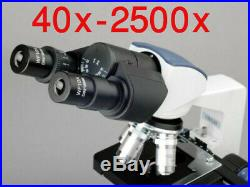 AmScope 40X-2500X Binocular Lab Compound Microscope with Mechanical Stage LED