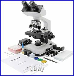 Cafthings LED Binocular Compound Lab Professional Electron Biological Microscope