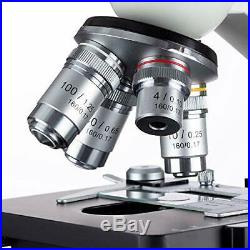 Compound Microscope Lab LED Binocular Microscope Double Layer Mechanical Stage