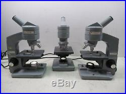 Lot of 3 AO American Optical One-Sixty Monocular Microscopes Student Lab Units