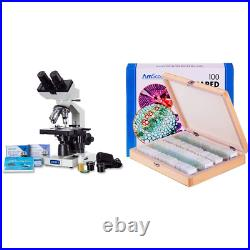 OMAX 40X-2000X LED Binocular Compound Lab Microscope withDouble Layer Mechanical