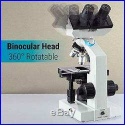OMAX 40X-2500X LED Binocular Compound Lab Microscope with Double Layer Mechanical