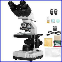 VEVOR 40X-1000X Binocular Lab Compound Microscope with 3D Mechanical Stage LED