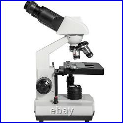 VEVOR 40X-2000X Binocular Lab Compound Microscope with 3D Mechanical Stage LED