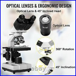 VEVOR 40X-2500X Binocular Lab Compound Microscope with 3D Mechanical Stage LED